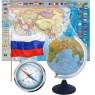 Глобусы, карты, флаги, компасы