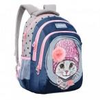 Рюкзак школьный grizzly темно-синий,светло-серый, 2 отд., анатом.спинка, светоотр.элементы, 27х41х20