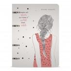 Тетрадь а5 bruno visconti девушка с косичкой на кольцах, сменный блок, 80л., пластик.обл., в точку