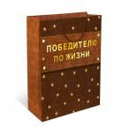 Сумка подарочная арт дизайн победителю по жизни вырубка, ламинация, 180х223х100