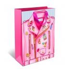 Сумка подарочная арт дизайн розовая куртка вырубка, ламинация, бумажная, стандарт плюс,180х223х100