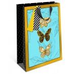 Сумка подарочная арт дизайн бабочки на бирюзовом вырубка, ламинация, бумажная премиум, 260х320х120