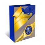 Сумка подарочная арт дизайн настоящему мужчине! вырубка, ламинация, бумажная премиум, 260х320х120