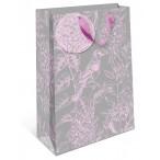 Сумка подарочная арт дизайн птица на цветке вырубка, ламинация, бумажная премиум, 260х320х120