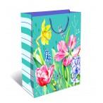 Сумка подарочная арт дизайн цветы-4 вырубка, ламинация, 260х320х120