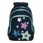 Рюкзак школьный grizzly темно-синий, 3 отд., анатом.спинка, светоотр.элементы, 27х41х20
