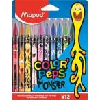 Фломастеры 12цв MAPED Color Peps Monster заблокир. пиш.узел, смываемые, декорир., картон. упак.
