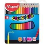 Карандаши 18-ти цв. MAPED Color Peps в мет. коробке