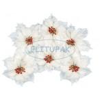 Цветки пуансетии белые 15см.