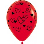 Шар воздушный Sempertex Сердечки красный, пастель, 12''/30см.