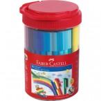 Набор фломастеры 50цв Faber Castell Connector подарочный, в пласт. банке, 10 клипов для соединения