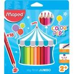Карандаши 18-ти цв. MAPED Color Peps Jumbo из липы,  треуг., ударопроч. гриф/, в картонном футляре
