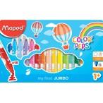 Фломастеры 18цв Maped Color Peps Jumbo заблокир. пиш.узел, смываемые, в пакете с подвесом
