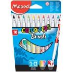 Фломастеры 10цв Maped Color Peps Brush фломастер-кисть, мягкий кончик 2,8 мм., смываемые