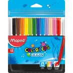 Фломастеры 12цв Maped Color Peps Ocean заблокир. пиш.узел, треуг. корпус, супер смыв.