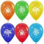 Шар воздушный С Днем Рождения!(огромного счастья) ассорти, пастель, 12''/30см., 12шт.