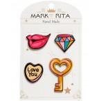 Набор значков Mark Rita Гламурный стиль с цанговым зажимом бабочка