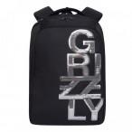 Рюкзак молодежный Grizzly черный - серебро, 2 отд., карманы, укреп. спинка, 26х39х17