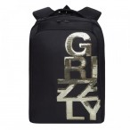Рюкзак молодежный Grizzly черный - золото, 2 отд., карманы, укреп. спинка, 26х39х17
