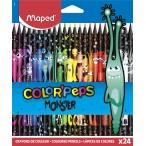 Карандаши 24 цв. MAPED Color Peps Black Monster пластиковые, декорированные, карт.кор., с подвесом