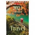 Календарь-домик 2021г. хатбер путешествие настольный, на гребне, верт, бум.мелов., 105х160мм