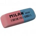 Ластик Milan 8020 комбинированный, каучук, стирает чернила и графит, 63х24х9мм.