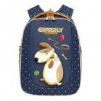 Рюкзак школьный Grizzly синий, 2отд., карманы, анатом.спинка, формованный, светоот.элем., 29х36х18