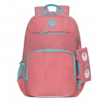 Рюкзак школьный Grizzly розовый, 1 отд., карманы, анатом.спинка, светоотр.элементы, 25х40х13