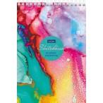 Скетчбук А5 ХАТБЕР Premium.Цветные грезы 32л.,160г/кв.м.,тв.подл.,без линовки,на гребне