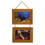 Рамка д/фото Фотолайт Сосна 21x30см., орех, двойная, подвесная