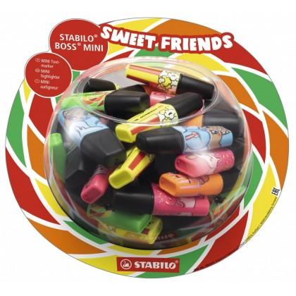 Текстовыделитель STABILO Boss mini sweet friends 2-5 мм., 4цв., ассорти, дисплей