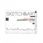Карандаши 48 цв. Sketch and Art трехгранные, утолщен., 4мм.грифель,  для скетча