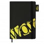 Записная книжка А5 ФЕНИКС WOW желтый, искус. кожа, на резинке, шелкогр., 96 л., 146x211 мм