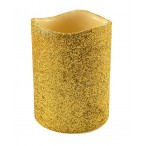 Свеча Tukzar золотая, светодиодная, блестки, 10х7,5см.