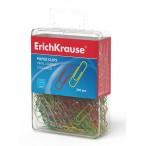 Скрепки Erich Krause 28мм цветные в пласт. коробочке, европодвес