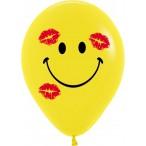 Шар воздушный Sempertex Смайл в поцелуях желтый, пастель, 12''/30см.