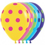 Шар воздушный Sempertex Цветные точки ассорти, 12''/30см.