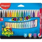 Фломастеры 18цв Maped Color Peps Jungle заблокир. пиш.узел, смываемые, карт. футляр