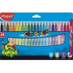 Фломастеры 24цв Maped Color Peps Jungle заблокир. пиш.узел, смываемые, карт. футляр