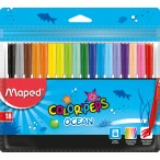 Фломастеры 18цв Maped Color Peps Ocean заблокир. пиш.узел, смываемые, в пакете с подвесом
