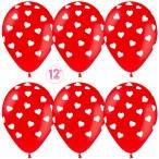 Шар воздушный Sempertex Сердца красный, кристалл, 12''/30см.