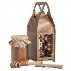 Набор Медовый (мед, резная ложка-веретено, ларец-шкатулка, бумажный свиток с пожеланиями)
