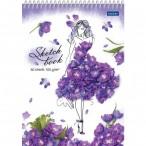 Скетчбук А5 Хатбер на спирали Premium.Flower art пласт.обл, без линов., офсет, 100г/кв.м, 60л.