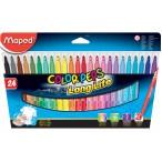 Фломастеры 24цв Maped Color Peps заблокир. пиш.узел, треуг. корпус, супер смыв., карт. упак.